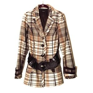 Maurices   Belted Plaid Peacoat